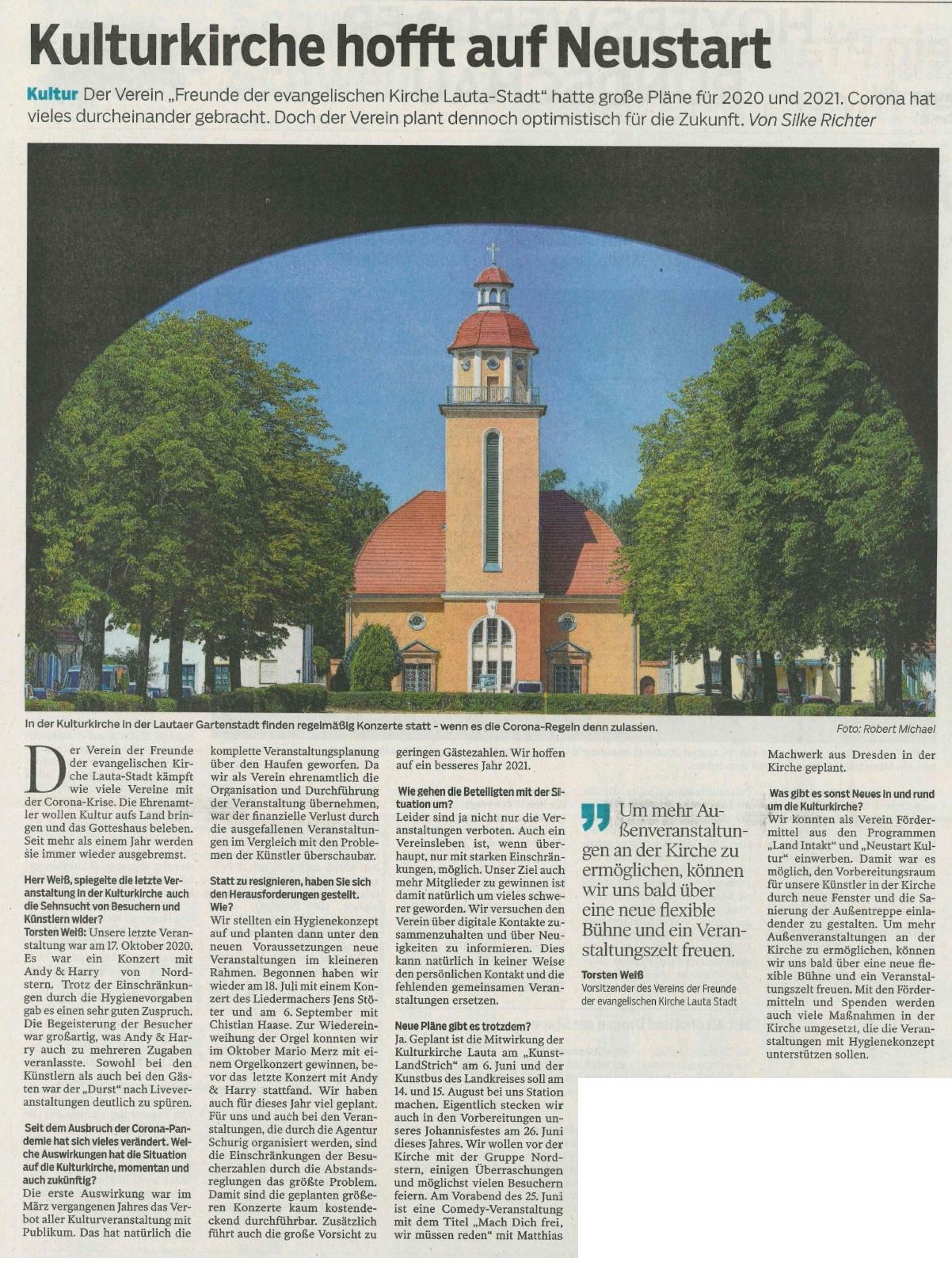 Kulturkirche hofft auf Neustart